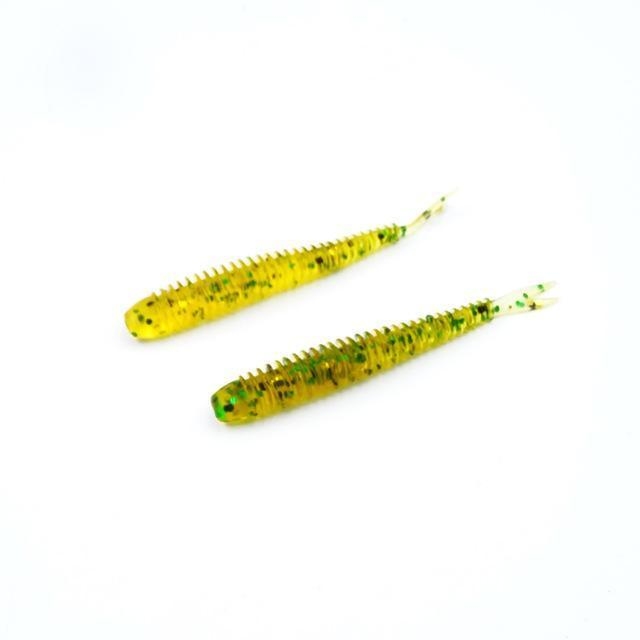 Soft Fishing Lures Split Tail Sandworms 5.8Cm 1G 10Pcs Swimbait Soft Bait Shad-ProFishing Store-Yellow Green Sparkle-Bargain Bait Box