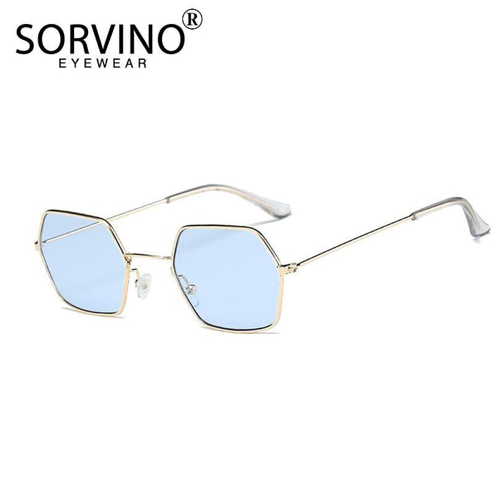 Sorvino Small Crystal Blue Hexagon Sunglasses Men Women Designer Tiny Clear-Sunglasses-SORVINO GLASSES Store-C1-Bargain Bait Box