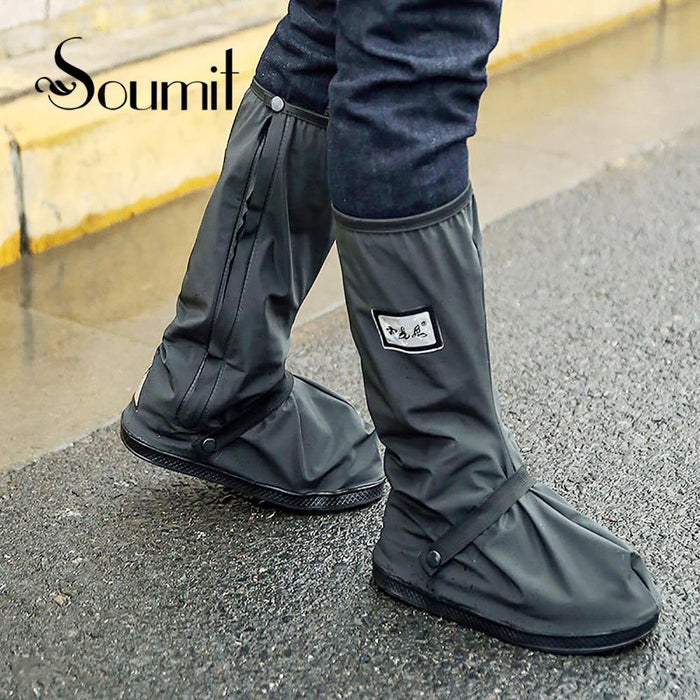 Soumit Waterproof Rain Reusable Shoes Covers, All Seasons Slip-Resistant-Shoe Covers-Bargain Bait Box-Black L-Bargain Bait Box
