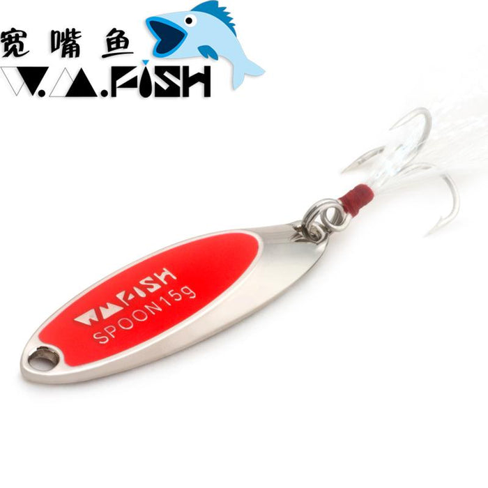 Spoon Metal Bait 7.5G-20G Bass S Spinner Tackle-Casting & Trolling Spoons-Bargain Bait Box-7g Silver Red-Bargain Bait Box