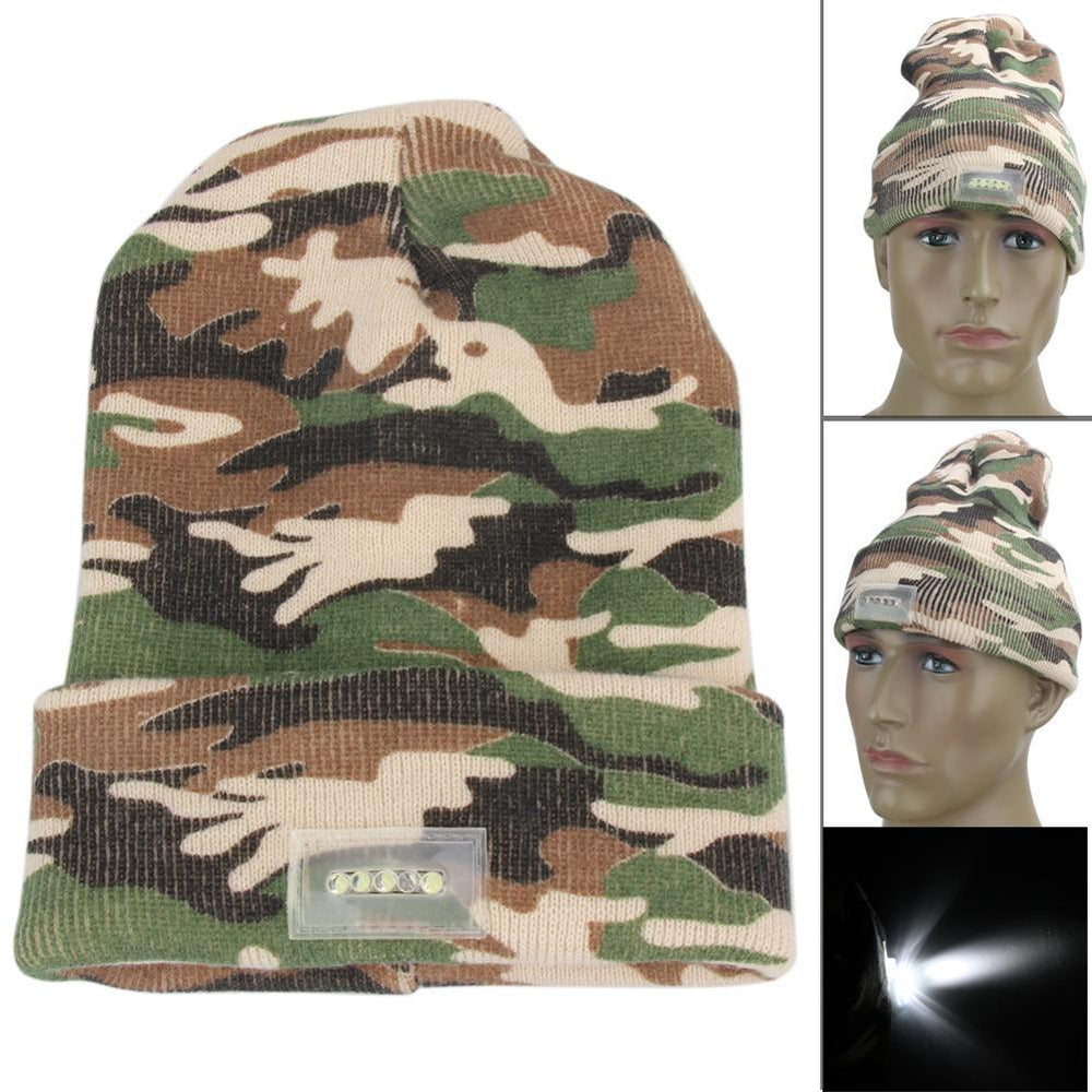 Sports Caps 5Led Bright Lights Camo Beanie Knitted Warm Hat For Walking-Beanies-Bargain Bait Box-Bargain Bait Box