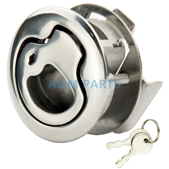 Stainless Steel Marine Boat Lock Flush Pull Latch Hatch Lift Handle With Key-Boat Accessories-Bargain Bait Box-Bargain Bait Box