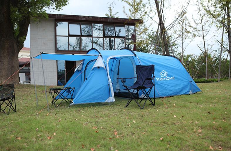 Starhome 2-3 Persons Camping Tent One Bedroom & One Living Room Tent Double-Xingju Outdoor-Blue tunnel tent-Bargain Bait Box