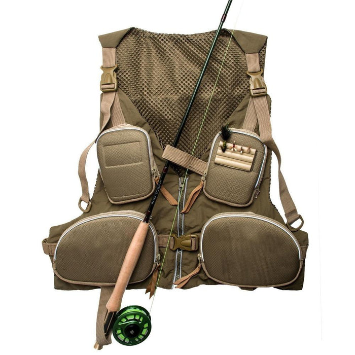 Strong-Toyers Adjustable Fly Fishing Vest Waistcoat Green +-Fishing Vests-Bargain Bait Box-Bargain Bait Box