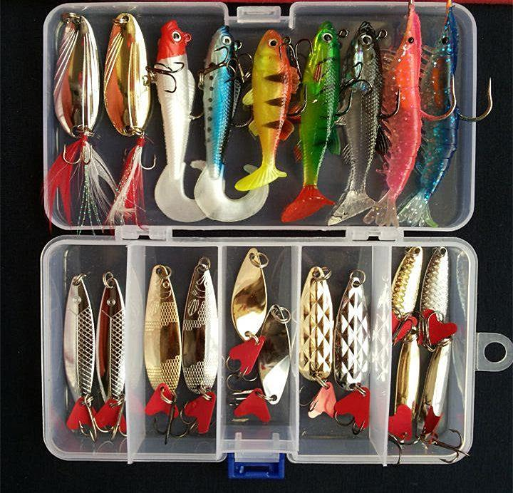 Suits Soft Fish Shrimp Spoon Metal Vib Soft Bait Sequins Kit Bait S/Style-Mixed Combos & Kits-Bargain Bait Box-A-Bargain Bait Box