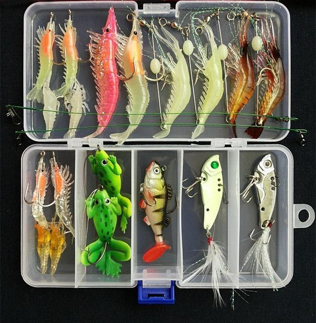 Suits Soft Fish Shrimp Spoon Metal Vib Soft Bait Sequins Kit Bait S/Style-Mixed Combos & Kits-Bargain Bait Box-B-Bargain Bait Box