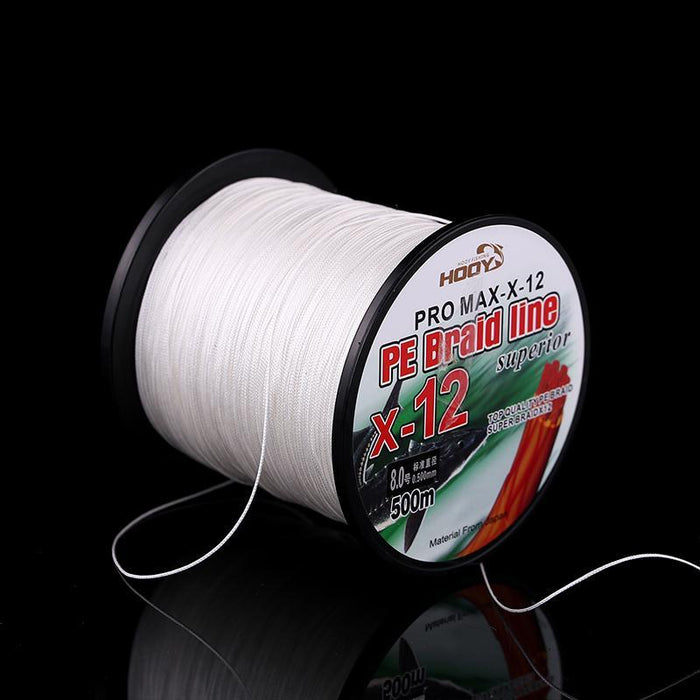 Super Strong Multifilament Pe Braided Fishing Line 500M 12 Strands Pe Braided-JUYI Official Store-White-3.0-Bargain Bait Box
