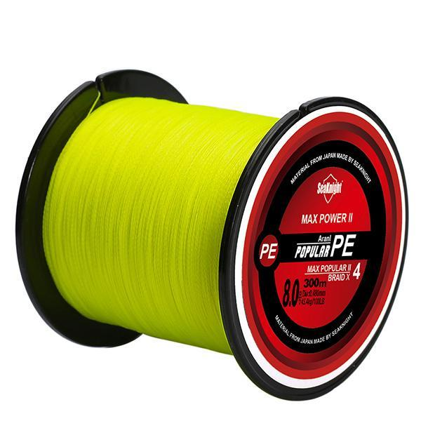 Super Tri-Poseidon Series 300M 328Yds 4 Strands Braided Fishing Line Japan-Sequoia Outdoor (China) Co., Ltd-yellow-0.4-Bargain Bait Box