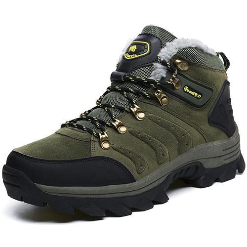 Supper Warm Fur Men Hiking Boots Waterproof Winter Outdoor Men Sneakers-COCO's fashion store-Army Green-5.5-Bargain Bait Box