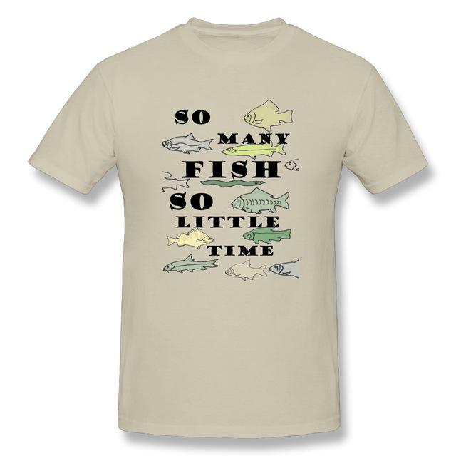 T Shirt Custom Design So Many Fish Fishinger Men Crewneck Short Sleeve-Shirts-Bargain Bait Box-Beige-XL-Bargain Bait Box