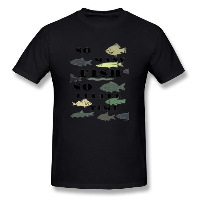 T Shirt Custom Design So Many Fish Fishinger Men Crewneck Short Sleeve-Shirts-Bargain Bait Box-Black-XL-Bargain Bait Box