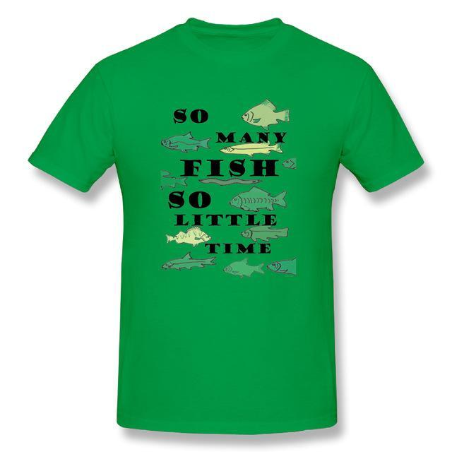 T Shirt Custom Design So Many Fish Fishinger Men Crewneck Short Sleeve-Shirts-Bargain Bait Box-Green-XL-Bargain Bait Box