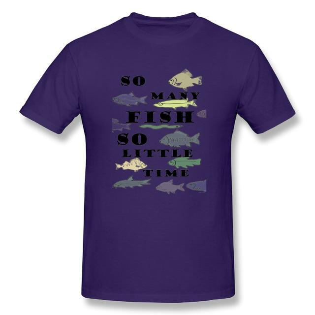 T Shirt Custom Design So Many Fish Fishinger Men Crewneck Short Sleeve-Shirts-Bargain Bait Box-Purple-XL-Bargain Bait Box
