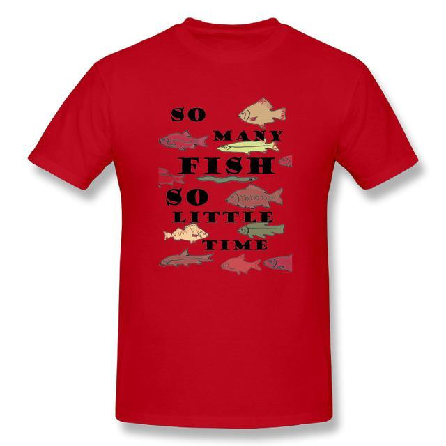 T Shirt Custom Design So Many Fish Fishinger Men Crewneck Short Sleeve-Shirts-Bargain Bait Box-Red-XL-Bargain Bait Box