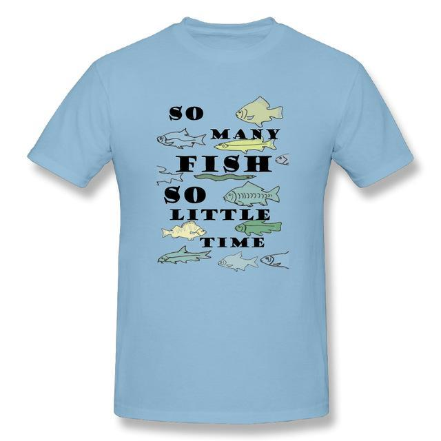 T Shirt Custom Design So Many Fish Fishinger Men Crewneck Short Sleeve-Shirts-Bargain Bait Box-Sky Blue-XL-Bargain Bait Box