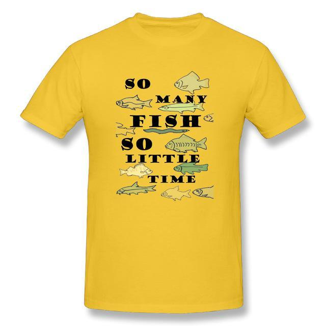 T Shirt Custom Design So Many Fish Fishinger Men Crewneck Short Sleeve-Shirts-Bargain Bait Box-Yellow-XL-Bargain Bait Box
