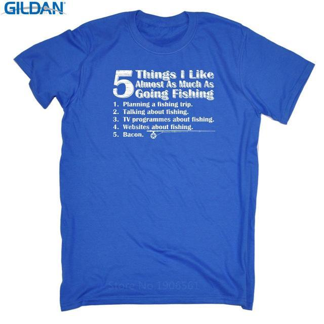 T Shirt Quotes Gildan Short Sleeve Graphic O-Neck 5 Things I Like As Much As-Shirts-Bargain Bait Box-Blue-Asia Size S-Bargain Bait Box