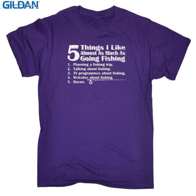 T Shirt Quotes Gildan Short Sleeve Graphic O-Neck 5 Things I Like As Much As-Shirts-Bargain Bait Box-Purple-Asia Size S-Bargain Bait Box