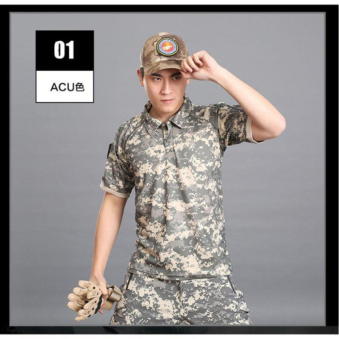 Tactical Military Breathable Shirt Short Sleeve Quick Dry Men Camo Camping-Shirts-Bargain Bait Box-11-S-Bargain Bait Box