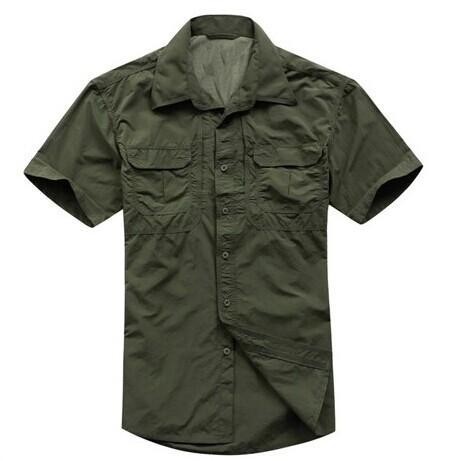 Tactical Military Men'S Sports Short Sleeve Breathable Quick-Dry Light Camping-Shirts-Bargain Bait Box-Army green-S-Bargain Bait Box