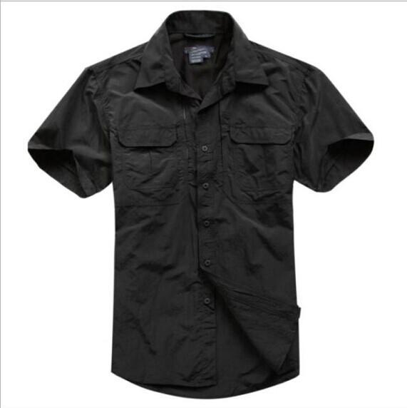 Tactical Military Men'S Sports Short Sleeve Breathable Quick-Dry Light Camping-Shirts-Bargain Bait Box-black-S-Bargain Bait Box