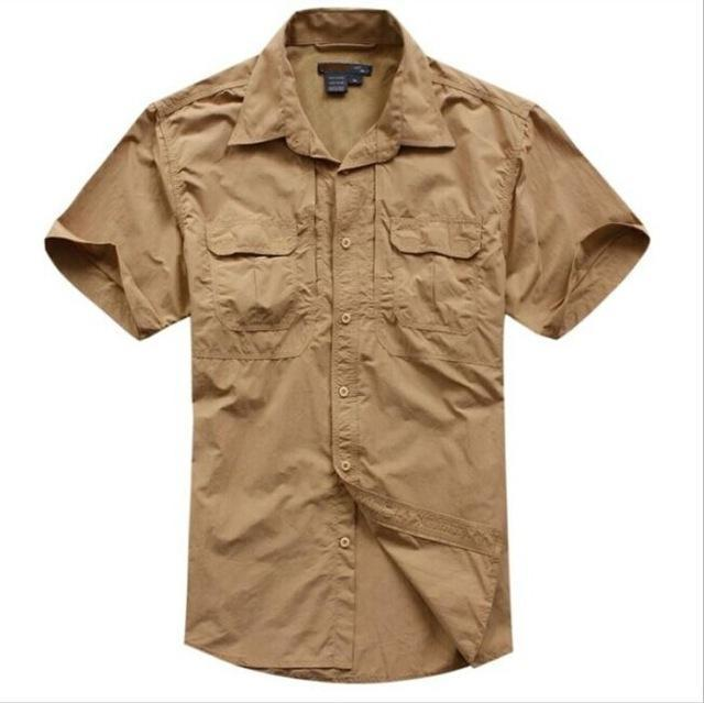 Tactical Military Men'S Sports Short Sleeve Breathable Quick-Dry Light Camping-Shirts-Bargain Bait Box-brown-S-Bargain Bait Box