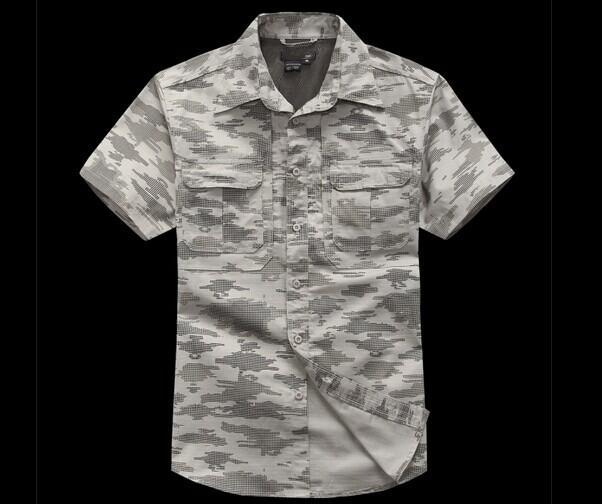 Tactical Military Men'S Sports Short Sleeve Breathable Quick-Dry Light Camping-Shirts-Bargain Bait Box-gray camouflage-S-Bargain Bait Box