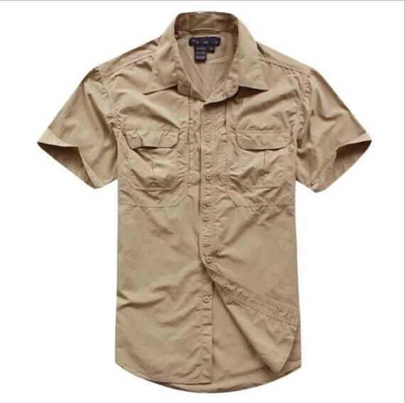 Tactical Military Men'S Sports Short Sleeve Breathable Quick-Dry Light Camping-Shirts-Bargain Bait Box-khaki-S-Bargain Bait Box