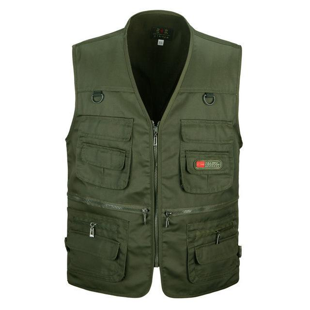 Tactical Vest Xl-Xxxl Men Cotton Quick-Dry Fly Fishing Vest Breathable Plus Size-Fishing Vests-Bargain Bait Box-Army Green-XL-Bargain Bait Box
