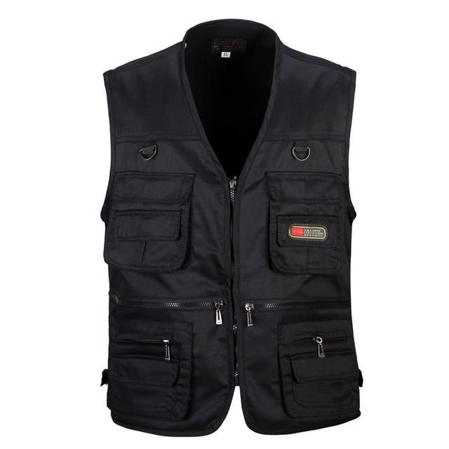 Tactical Vest Xl-Xxxl Men Cotton Quick-Dry Fly Fishing Vest Breathable Plus Size-Fishing Vests-Bargain Bait Box-Black-XL-Bargain Bait Box
