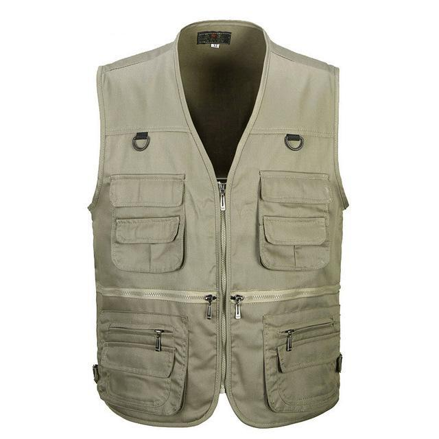 Tactical Vest Xl-Xxxl Men Cotton Quick-Dry Fly Fishing Vest Breathable Plus Size-Fishing Vests-Bargain Bait Box-Khaki-XL-Bargain Bait Box