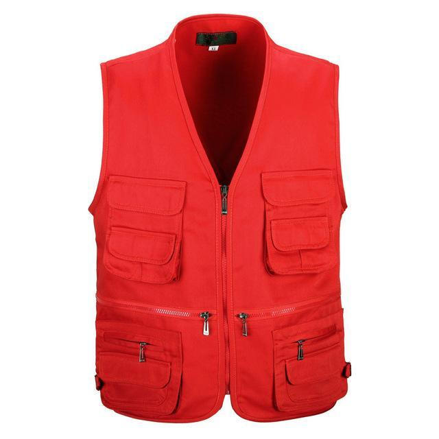 Tactical Vest Xl-Xxxl Men Cotton Quick-Dry Fly Fishing Vest Breathable Plus Size-Fishing Vests-Bargain Bait Box-Red-XL-Bargain Bait Box