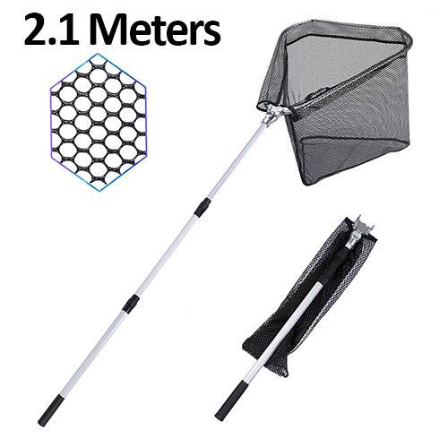 Telescopic Fishing Landing Net 150Cm 210Cm Rubber Coated Network For Sea Bass-Fishing Nets-Bargain Bait Box-2.1 Meters-China-Bargain Bait Box