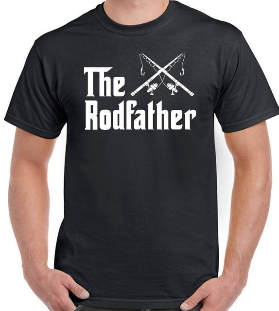 The Rodfather Mens Funny T Shirt Rod Father Fathers Day Dad Fish Reel Funny-T-Shirts-sillyboytshirts Store-man black-S-Bargain Bait Box