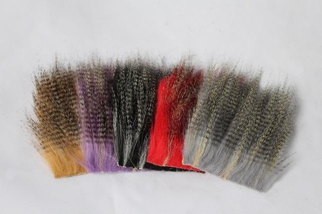 Tigofly 5 Pcs 8*8Cm Furabou Craft Fur 5 Barred Colors Fiber Streamer Tail Wing-TIGOFLY Fishing Factory Store-Assorted each 1 pcs-Bargain Bait Box