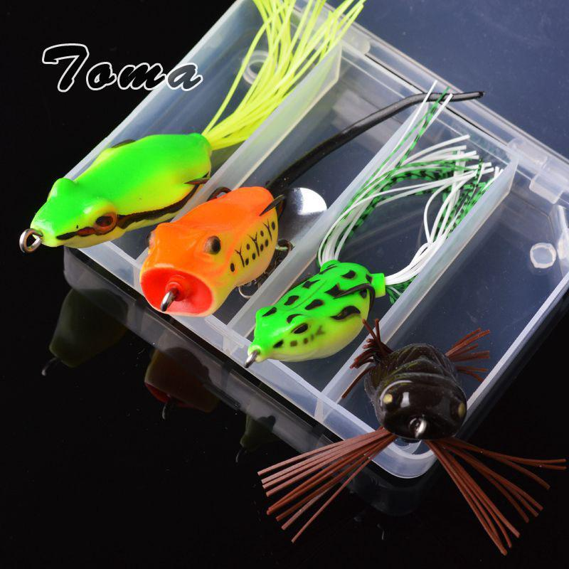 Toma 4Pcs Frog Fishing Kit Noise Sequins 5G-11G Snakehead Soft Bait Topwater-Soft Bait Kits-Bargain Bait Box-Bargain Bait Box