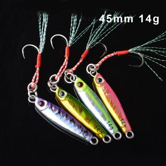 Toma 4Pcs/Lot Metal Jigging Fishing Lure With Hook 7G 14G 28G 40G Mini Jig-ToMa Official Store-4colors mix 14g-Bargain Bait Box