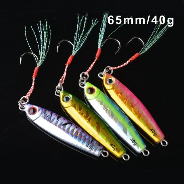 Toma 4Pcs/Lot Metal Jigging Fishing Lure With Hook 7G 14G 28G 40G Mini Jig-ToMa Official Store-4colors mix 40g-Bargain Bait Box