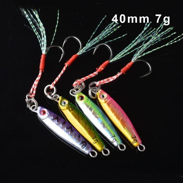 Toma 4Pcs/Lot Metal Jigging Fishing Lure With Hook 7G 14G 28G 40G Mini Jig-ToMa Official Store-4colors mix 7g-Bargain Bait Box