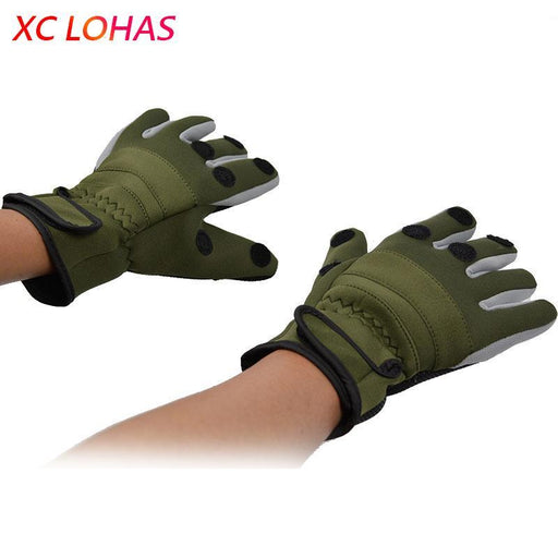 Top Camo Fishing Gloves Thickened Non Slip Fishing Gloves Waterproof Thermal 3-Gloves-Bargain Bait Box-Army Green-L-Bargain Bait Box