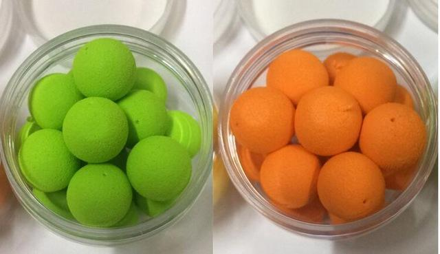 Toppory 2Pcs/Lot 17Mm Big Floating Carp Fishing Boilies Flavoured Pop Up Grass-Dough Baits & Boilies-Bargain Bait Box-Green and Orange-Bargain Bait Box