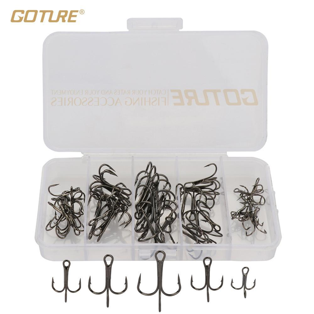 Treble Fishing Hooks Extra Sharp High Carbon Steel Hooks Set With Plastic Box-Hook Kits-Bargain Bait Box-black-Bargain Bait Box