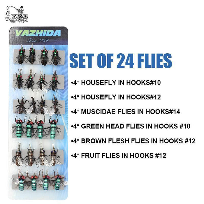 Trout Fly Fishing Lure Set 12Pcs Mosquito Housefly Dry Flies Artificial-Yazhida fishing tackle-A SET OF 12 FLIES-Bargain Bait Box