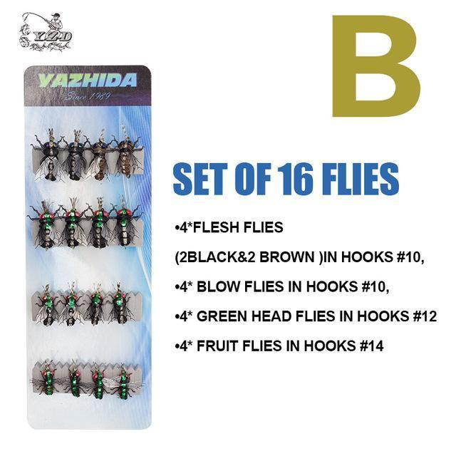 Trout Fly Fishing Lure Set 12Pcs Mosquito Housefly Dry Flies Artificial-Yazhida fishing tackle-B SET OF 16 FLIES-Bargain Bait Box