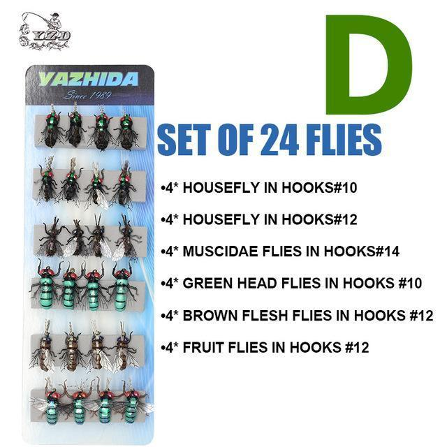 Trout Fly Fishing Lure Set 12Pcs Mosquito Housefly Dry Flies Artificial-Yazhida fishing tackle-D SET OF 24 FLIES-Bargain Bait Box