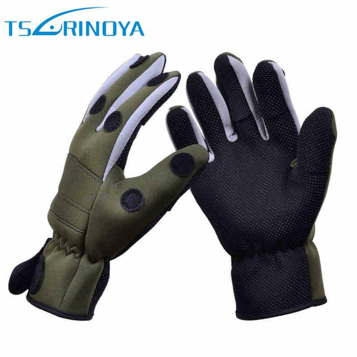 Trulinoya Breathable Anti-Slip Fishing Gloves 1 Pair X Xl Full Finger/Three-Gloves-Bargain Bait Box-Army Green-L-Bargain Bait Box