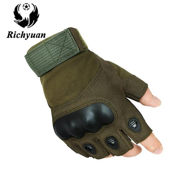 Us Military Tactical Gloves Sports Full Finger Combat Motocycle Slip-Resistant-Gloves-Bargain Bait Box-half green-L-Bargain Bait Box