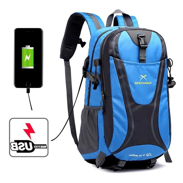 Usb Charging Hiking Backpack Nylon Waterproof Outdoor Bags Climbing Backpack-Climbing Bags-Alpscamping Store-Black Color-30 - 40L-Bargain Bait Box