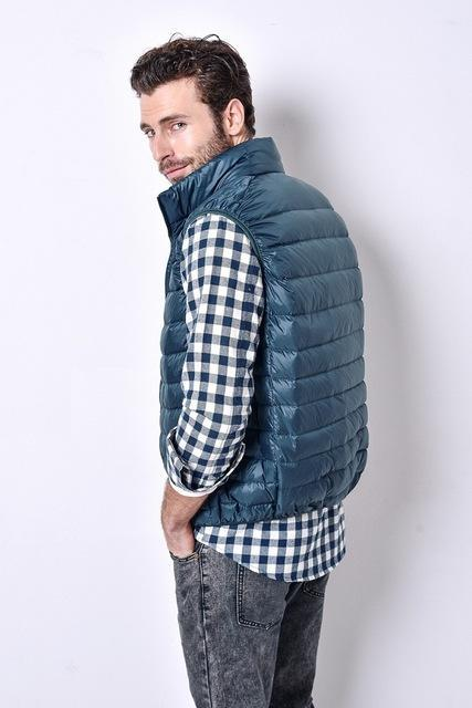 Uwback Colete Masculino 90% White Duck Down Light Vest Men Plus Size Slim-Vests-Bargain Bait Box-Gold-S-Bargain Bait Box