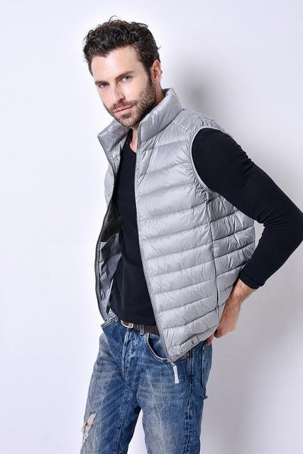 Uwback Colete Masculino 90% White Duck Down Light Vest Men Plus Size Slim-Vests-Bargain Bait Box-gray-S-Bargain Bait Box